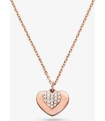 mk collana con cuore in argento sterling placcato in metallo prezioso e pavé - oro rosa (oro rosa) - michael kors