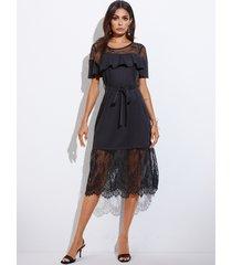 yoins cordón de encaje negro patchwork con volante diseño redondo cuello vestido