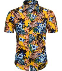 beach ditsy floral leaf pattern short sleeve shirt