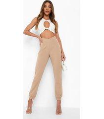 skinny fit broek met v-taille en zoom detail, sand