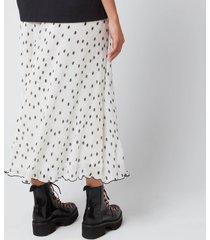 ganni women's pleated polk dot georgette skirt - egret - eu 36/uk 8