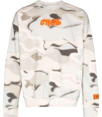 heron preston camouflage print sweatshirt - neutrals
