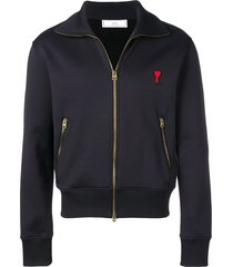 ami zipped sweatshirt with high collar and ami heart patch - black