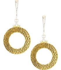 24k goldplated sterling silver hammered drop hoop earrings
