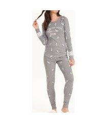 pijama feminino cor com amor 12616 cinza
