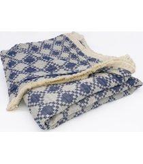 "small diamond tri-weave matelasse cotton throw blanket, 70"" x 50"""