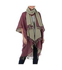 cotton kimono jacket and scarf set, 'subtle chic' (thailand)