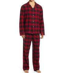 men's l.l.bean men's scotch plaid flannel pajamas, size large - red