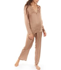 pyjama's / nachthemden selmark nina lange mouw pyjama top