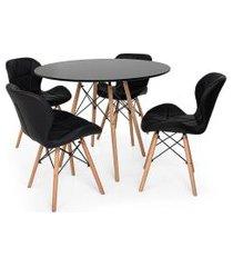 kit mesa jantar eiffel 90cm preta + 04 cadeiras slim - preta