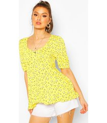 ditsy floral puff sleeve smock top, yellow