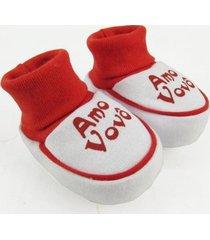 pantufa bebê unissex suedine amo vovô vermelha
