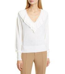 women's chloe ruffle v-neck merino wool blend sweater, size medium - ivory