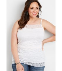 maurices plus size womens solid lace crinkle cami white