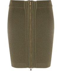 balmain knitted zipped mini skirt - green