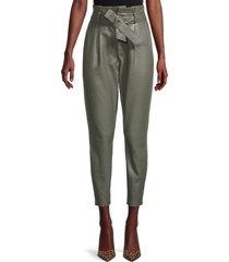 bb dakota women's skin in the game faux-leather cropped pants - surplus green - size 8