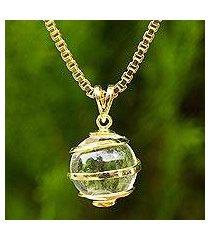 gold plated quartz pendant necklace, 'crystalline spin' (thailand)