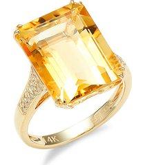 14k yellow gold, diamond & citrine cocktail ring