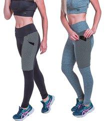 kit 2 leggings carbella preta e cinza com bolsos - tricae