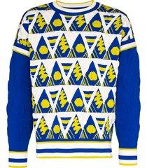 ahluwalia intarsia knit jumper - blue