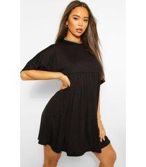 gesmokte jurk met vleermuismouwen, black