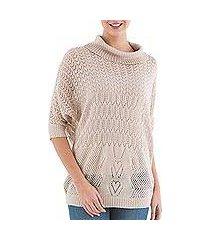 pullover sweater, 'evening flight in beige' (peru)