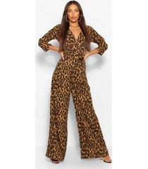 tall luipaardprint wikkel jumpsuit met ceintuur, luipaard