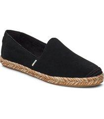 black suede sandaletter expadrilles låga svart toms