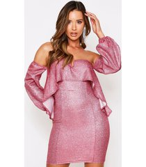 long sleeve bardot v bar glitter mini dress, coral