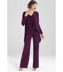 natori matte jersey cardigan coat, women's, purple, size l natori