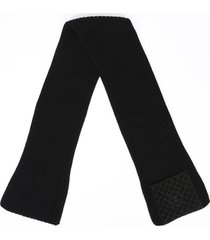chanel black knit quilted cc suede panel scarf black/logo sz: