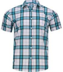 camisa hombre a cuadros con bolsillo color blanco, talla xs