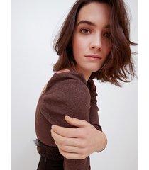 motivi maglia lurex con scollo quadrato donna marrone