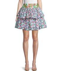 botanical-print cotton-blend skirt