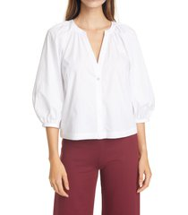 staud new dill stretch cotton button-up blouse, size x-small in white at nordstrom