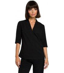 blouse be b090 effen v-hals top met linnen - zwart