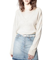 women's zadig & voltaire brumy merino wool sweater, size medium - grey