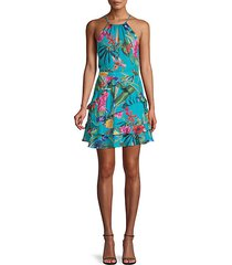 ruffled floral fit-&flare dress