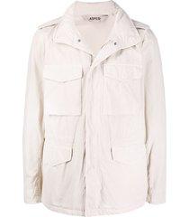 aspesi multi-pocket high collar jacket - neutrals