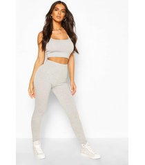 basic leggings met hoge taille, grijs