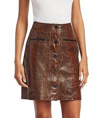 tammy snakeskin embossed leather skirt