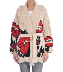 alanui red poppy cables cardigan