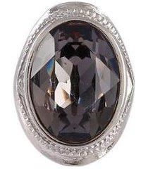 anel armazem rr bijoux cristal grafite prata - feminino