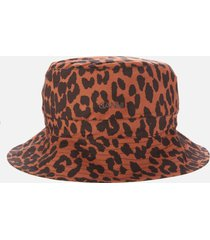 ganni women's leopard print cotton poplin bucket hat - toffee - xs-s