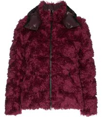 moncler fluffy padded jacket - 560 red grey