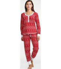 tommy hilfiger women's ermal pajama set crimson fairisle - xl