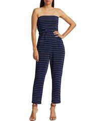 wayne glitter stripe strapless jumpsuit
