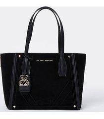 river island womens rsd black suede shopper bag