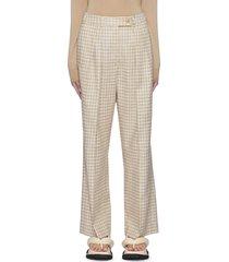 tweed wide leg cotton blend pants