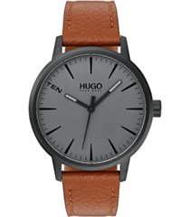 hugo men's #stand brown leather strap watch 40mm